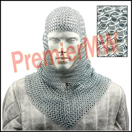 Chain Mail Coif Zinc Butted Medieval Chainmail Hood Knights Armor Coif Costume