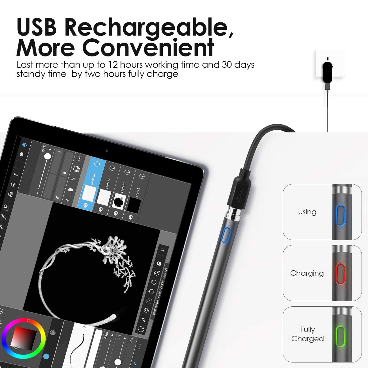 BACKTURE Penna Touch Huawei iphone Touchscreen e Tablet Samsung Smartphone Punta Ultra Fine da 1,5 mm Capacitiva Attiva Penna per iPad