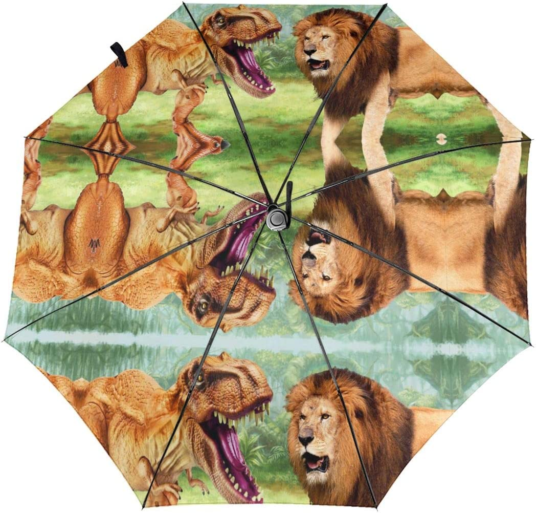 Dinosaur T-Rex VS Lion King Automatic Folding Umbrella Sunshade Tri-fold Rain Umbrella
