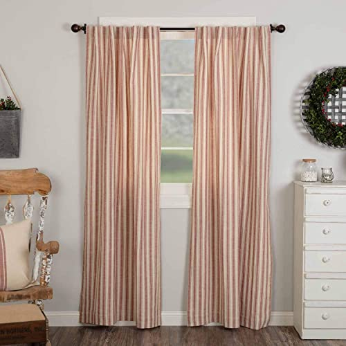 Market Place Red Ticking Stripe Panel Curtain