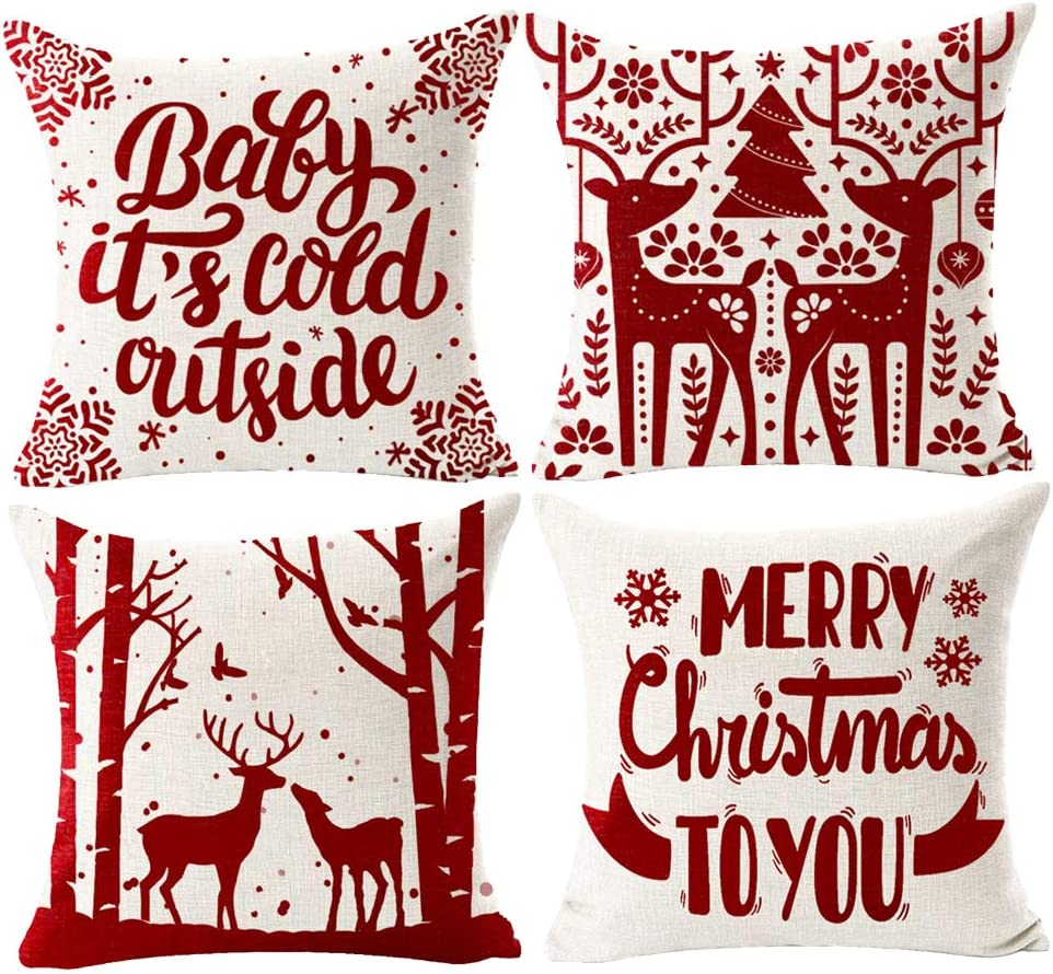 Merry Christmas Decorative Velvet and Cotton Pillow Covers