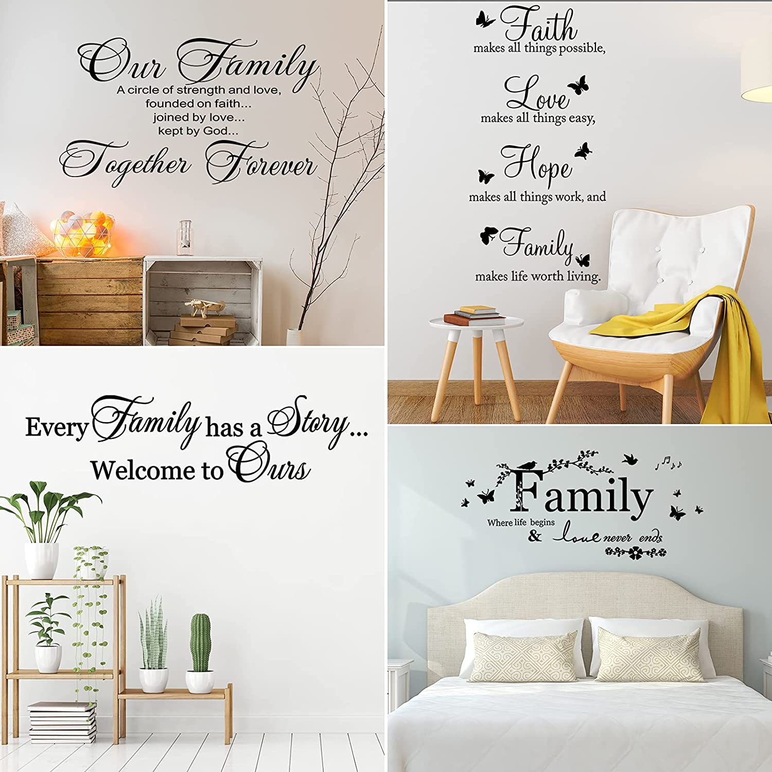 Eersida 4 Pieces Vinyl Wall Decals Faith Hope Love Family Scripture Wall Stickers Family Vinyl Wall Stickers Quotes Bible Verse Inspirational Sayings Butterfly Wall Stickers for Home Decors