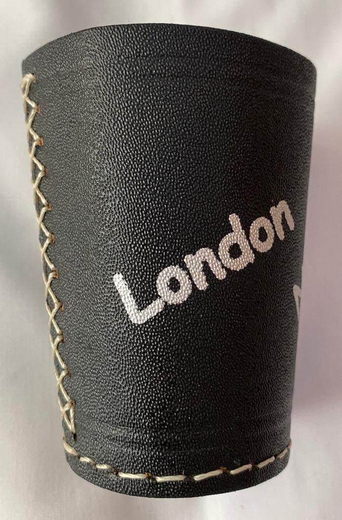 BHLTD Leather Dice Cup Yahtzee Farkle Dice Shaker Party Casino Stacking Perudo Cup Black