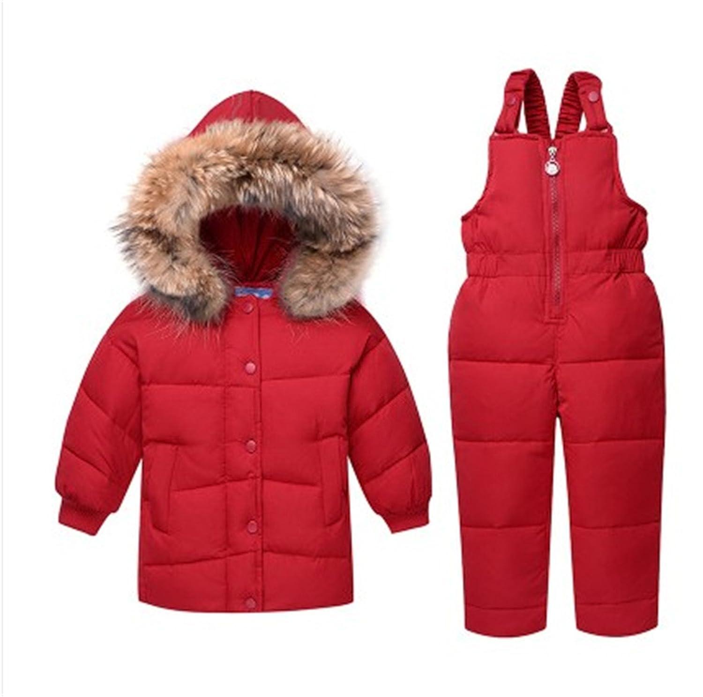 Acereima Children Set Boys Girl Down Jacket Coat + Bib Pants
