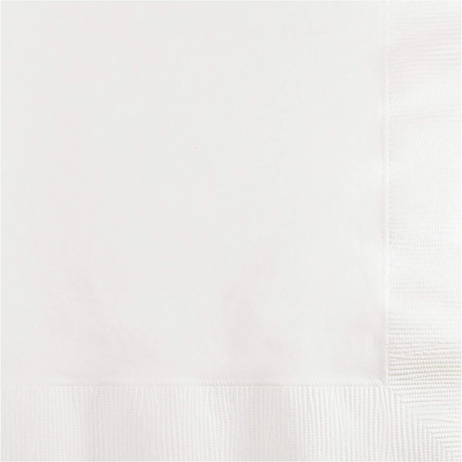 Creative Converting 500 Count Case Touch of Color 2-Ply Paper Beverage Napkins, White
