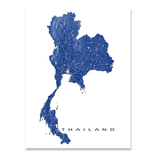 Amazon.com: Thailand Map Print, Country Art Wall Decor, Bangkok ...