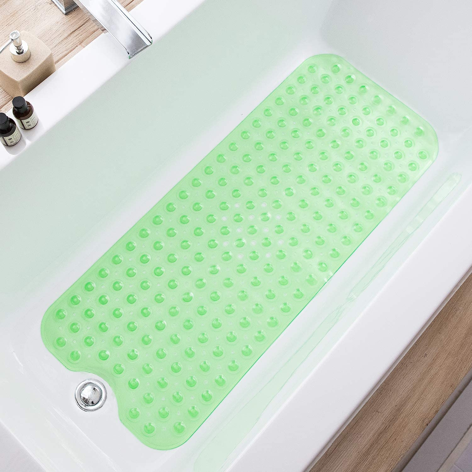 TEESHLY Bathtub Mats for Shower Tub Extra Long Non-Slip Bath Mat, 39 x 16 Inch Shower Mat with Drain Holes and Suction Cups, Bath Tub Mat for Bathroom with Machine Washable (Clear Green)