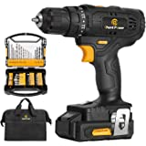 Cordless Drill, 20V Max Lithium-Ion Drill Driver Kit with 2 Variable Speeds, 41pcs Accessories, 15+1 Torque Setting, Built-in
