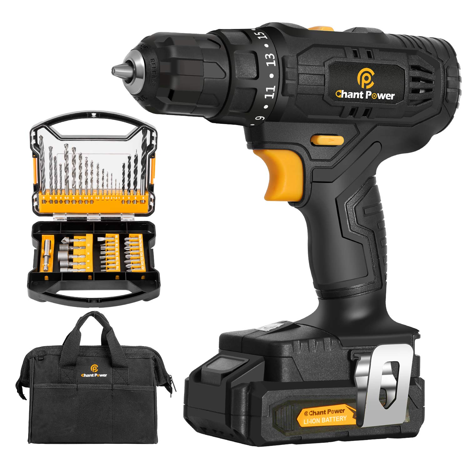 Cordless Drill, 20V Max Lithium-Ion Drill Driver Kit with 2 Variable Speeds, 41pcs Accessories, 15+1 Torque Setting, Built-in LED for Drilling Wood, Soft Metal, Plastic, C P CHANTPOWER
