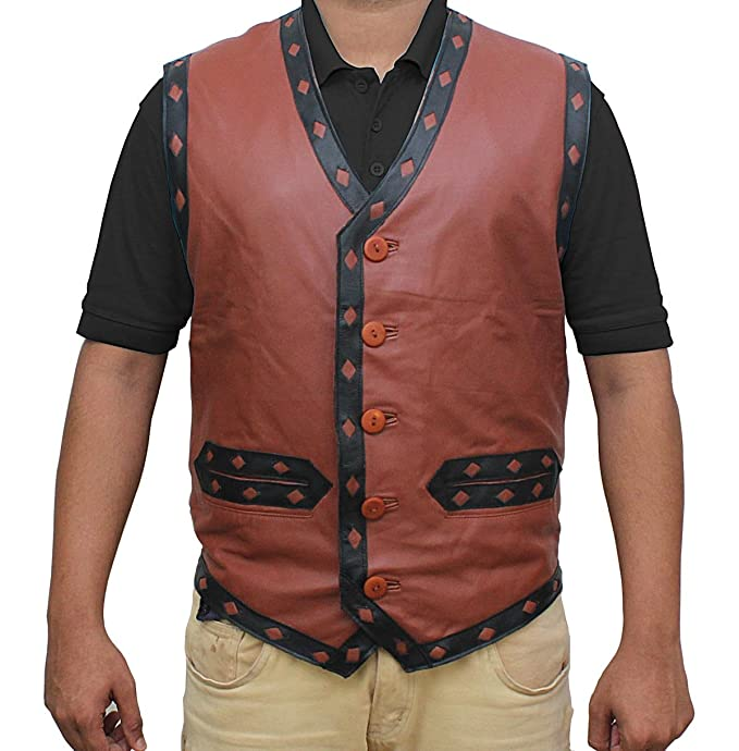 The Warriors Movie V Neck Collar Brown Real Leather Vest ...