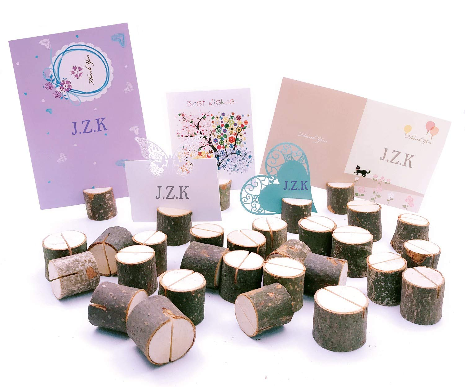 JZK 30 x Real Wood Wedding Table Number Holders Name Card Photo memo Place Card Holder Stand for Rustic Theme Wedding Christmas Birthday Garden BBQ Party