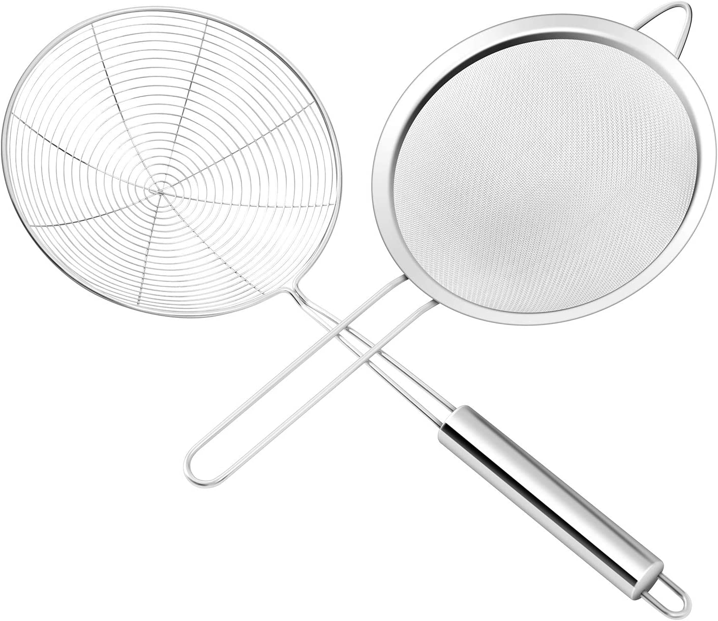 Premium Stainless Steel Fine Mesh food strainer and Spider Strainer Skimmer(diameter 6.7inch, 6.6inch), Skimmer Spoon for Kitchen with Sturdy Handle for Frying and Cooking, Pasta Strainer