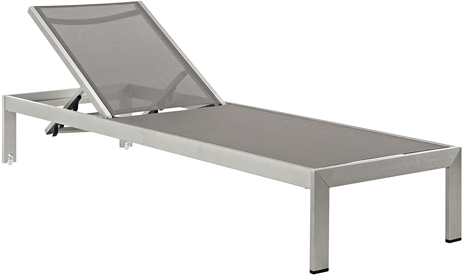 Modway Shore Aluminum Mesh Outdoor Patio Poolside Chaise Lounge Chair in Silver Gray