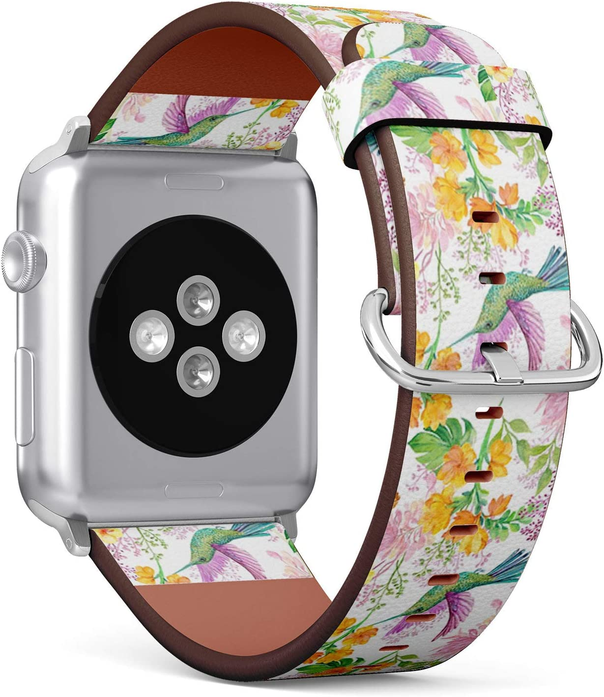 Compatible with Apple Watch 38mm & 40mm (Series 5, 4, 3, 2, 1) Leather Watch Wrist Band Strap Bracelet with Stainless Steel Clasp and Adapters (Floral Bird Hummingbird)