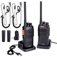 2-Pack Tacklife MTR01 Walkie Talkie Long Range Two-Way Radio with Earpiece, UHF 400-470MHz, 16 Channels, Li-ion Battery Charging, Charger & Clip