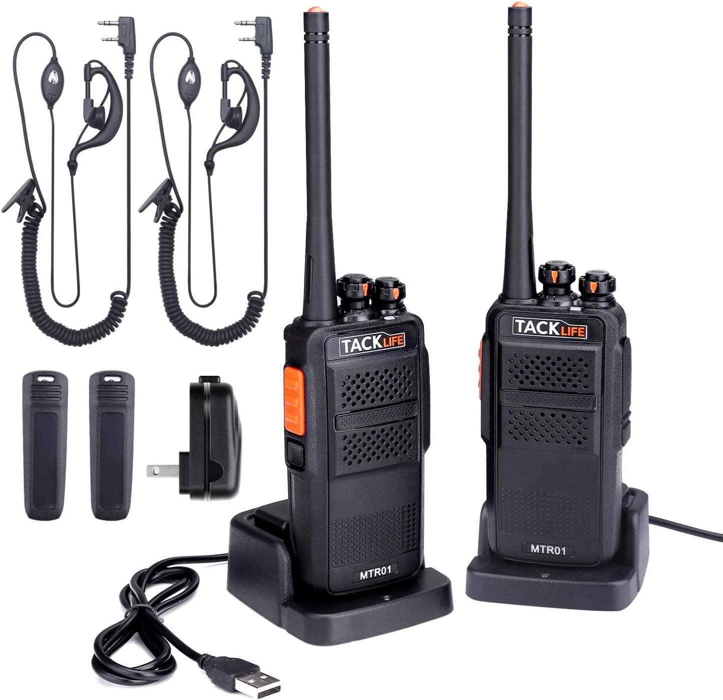 Walkie Talkies Rechargeable, Professional Long Range Two-Way Radios 2-Pack with Earpiece, UHF 400-470MHz, 16 Channels, Li-ion Battery Charging, Charger, Clip Included – MTR01