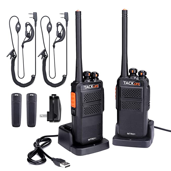 Walkie Talkies Rechargeable, Professional Long Range Two-Way Radios 2-Pack with Earpiece, UHF 400-470MHz, 16 Channels, Li-ion Battery Charging, Charger, Clip Included - MTR01