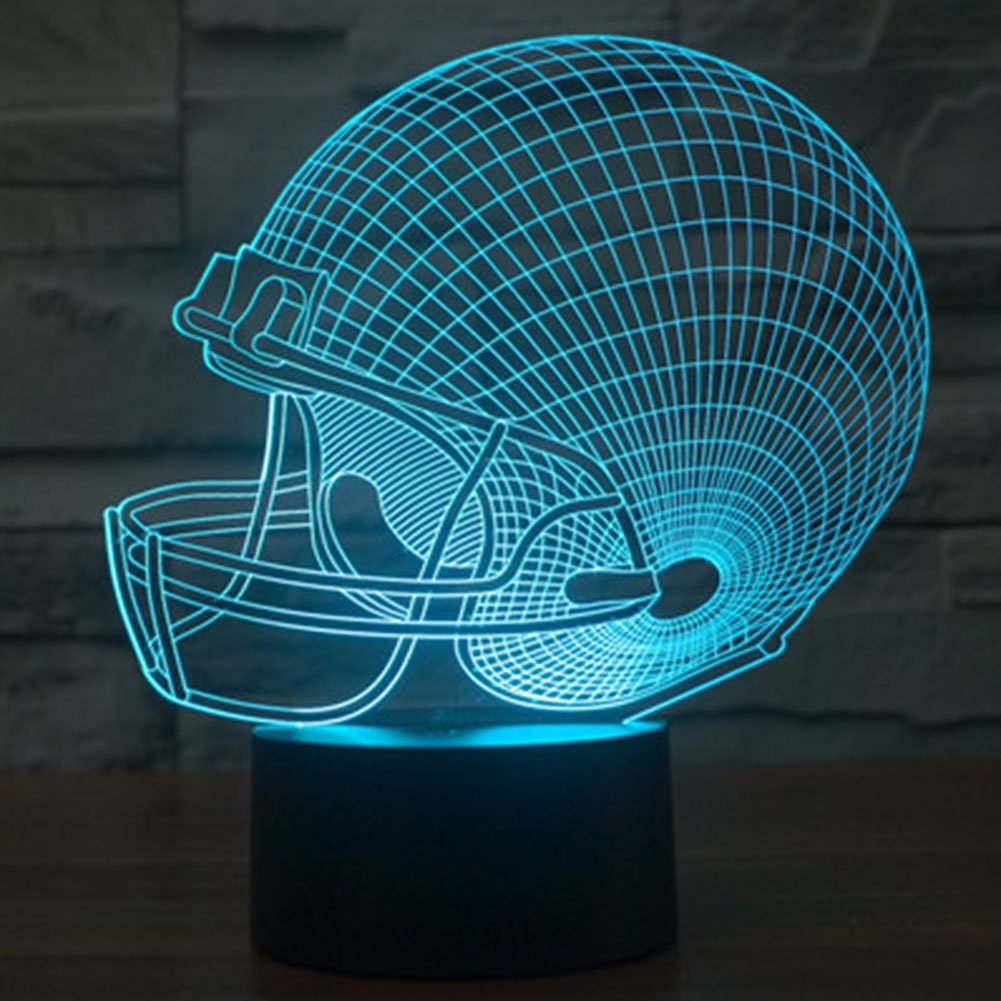 Football Hat Night Light 3D Illusion Table Lamp Nightlighs for Baby Nursery Room, YKL WORLD 7 Color Changing Best Birthday Gifts Decor for Kids Living Room Home Cafes Bar Hotels