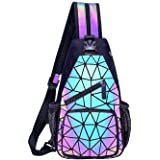 Geometric Luminous Backpacks Holographic Reflective Bag Lumikay Purse Irredescent Crossbody Bag Prism Sling Bag for Women Men