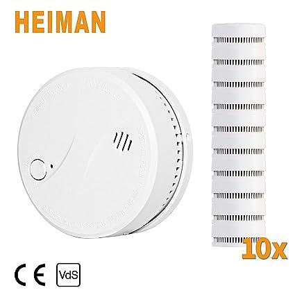 Heiman 10 años VDS EN14604 CE Certificado inalámbrico Alarma de Humo con batería de Litio Seguridad