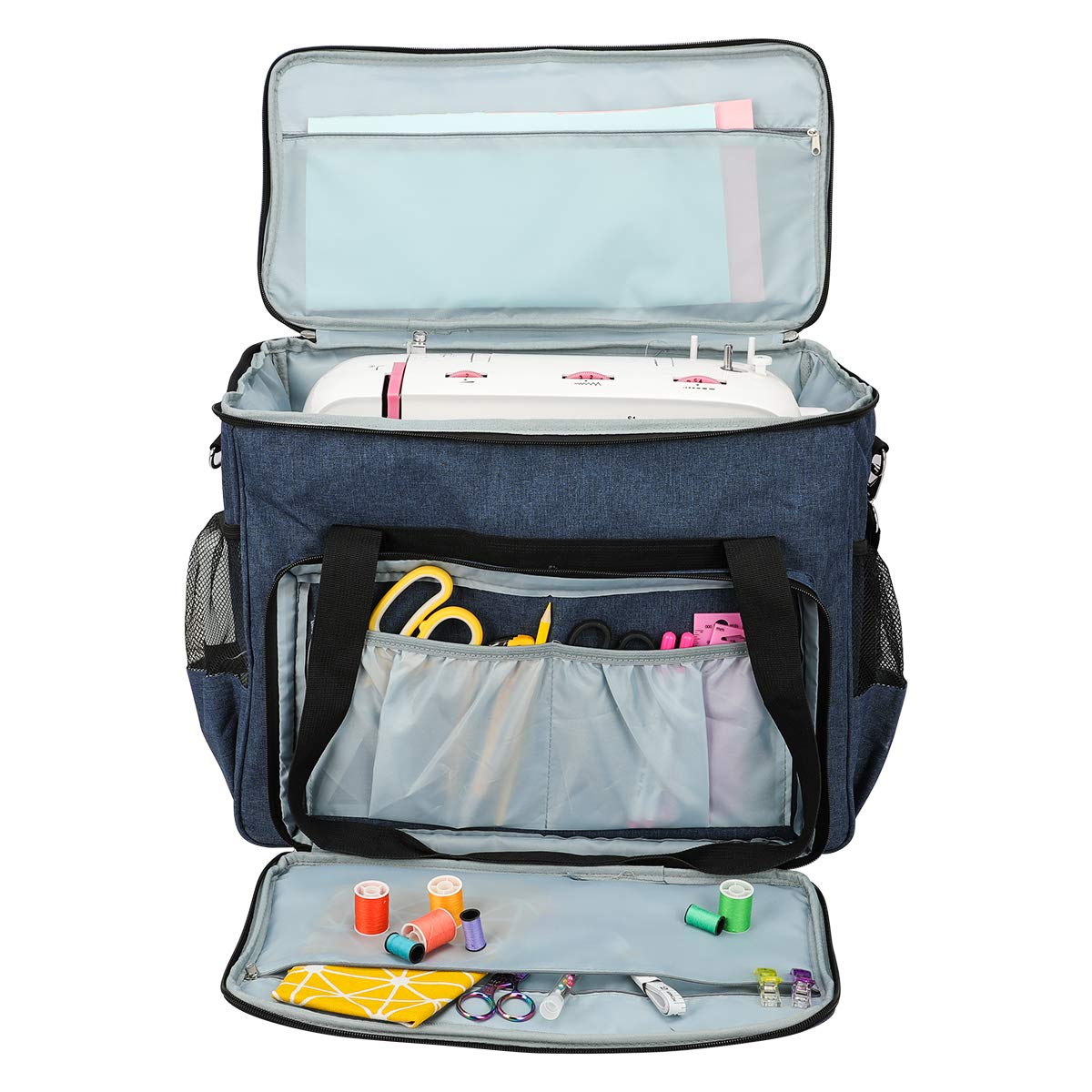 Multi-functional Sewing Machine Storage Bag Large Capacity Sewing Machine Carrying Case Oxford Travel Portable Sewing Machine Tote Sewing Tools Needlework Hand Bags Sewing Accessories Organizer Grey
