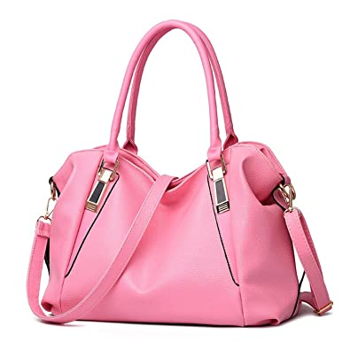 be03d74cd10 Amazon.com: Women Handbag Female PU Leather Bags Handbags Ladies Portable  Shoulder Bag Office Ladies Hobos Bag Totes Pink: Shoes