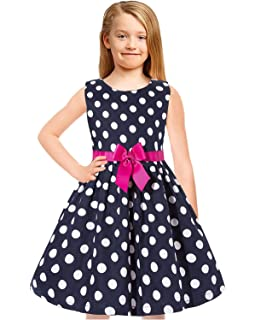 d58ab3b09c19 Tkiames Girls Easter Dress Vintage Spring Summer Sleeveless Casual Swing  Party Dress with Belt Navy