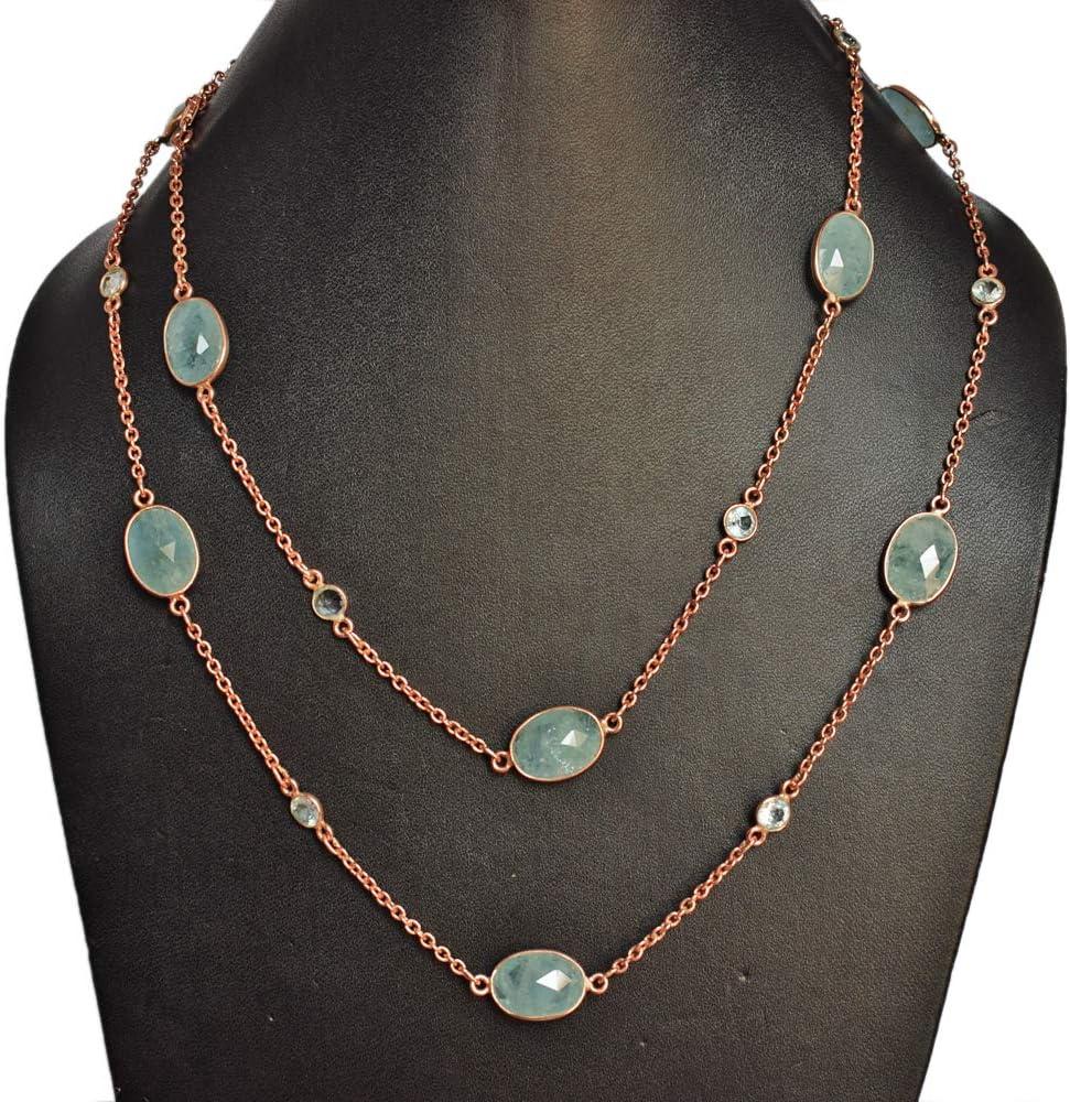 Atractivo collar de piedras preciosas de aguamarina de plata de ley 925 maciza hecho a mano, chapado en oro rosa, collar de joyería para mujer FSJ-4251