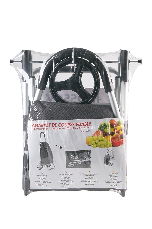 ikossem Chariot De Course Pliable Noir 50 litres