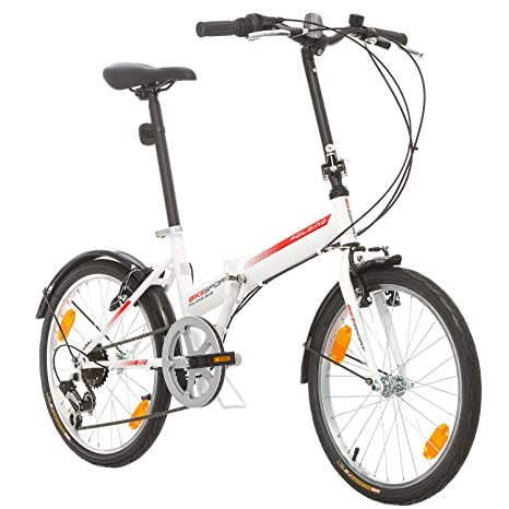 Bicicletta Folding Pieghevole.Bikesport Folding Bicicletta Pieghevole 20 Bianco Amazon