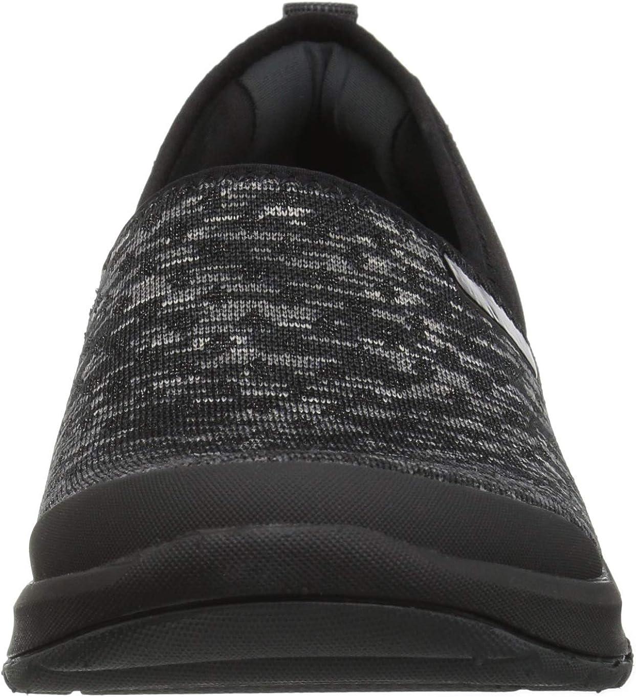 BZees Women's Glee Sneaker Black Dot Heather Knit