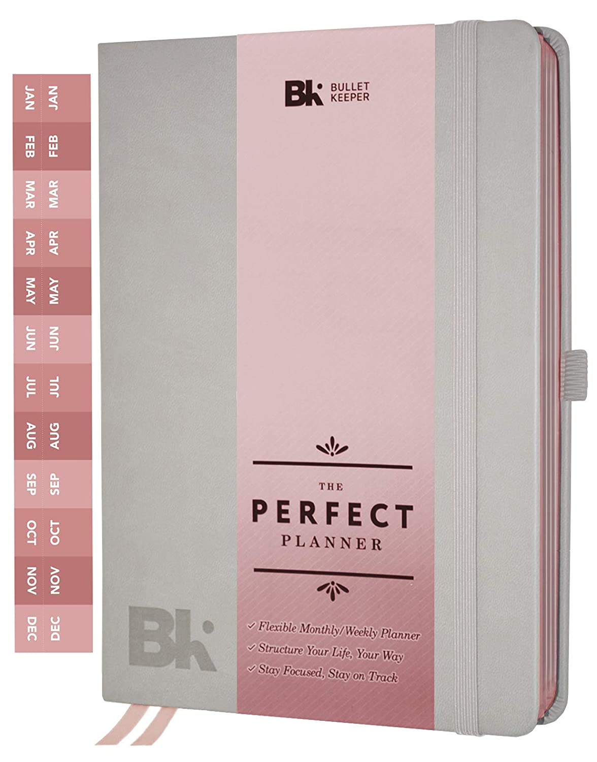 The Perfect Planner by BK. Undated Planner for 2019-20 with Weekly & Monthly Structures. Stickers Set Included. A5 (5.8 x 8.3) Gray Hardcover, Rose Gold Edges
