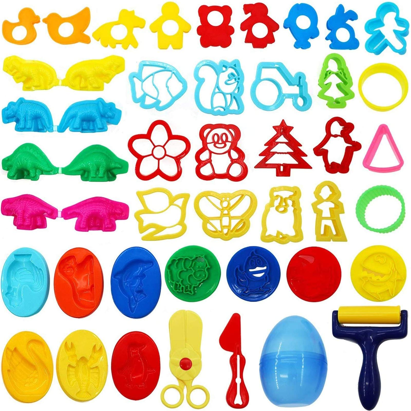 HEHALI 41pcs Play Dough Tools Playset Clay Dough Accessories Includes Various Plastic Dough Molds Cutters for Kids