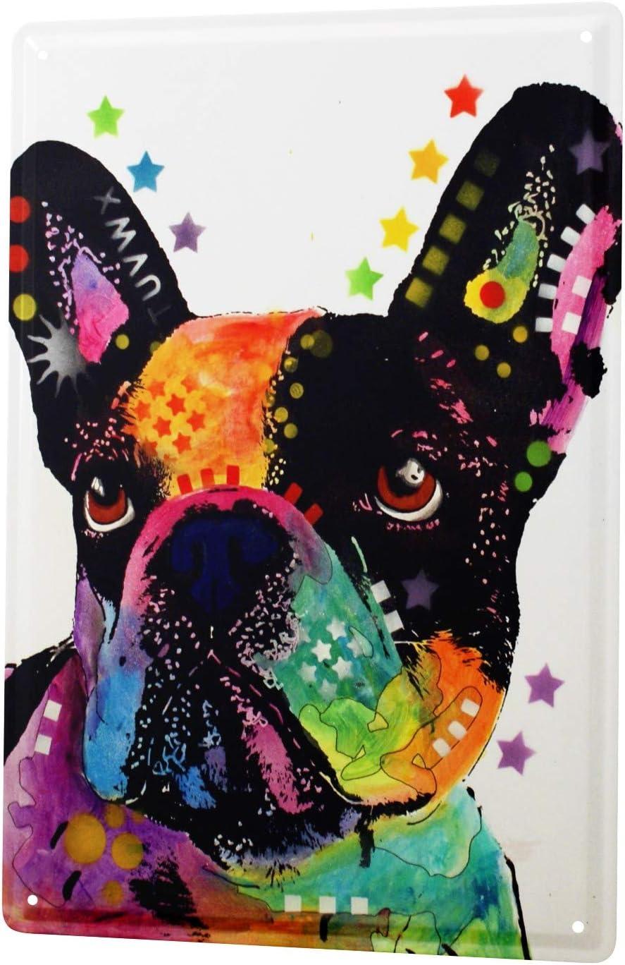 LEotiE SINCE 2004 Plaque en M/étal M/étallique Poster Mural tin Sign Animal Shelter Bouledogue Fran/çais