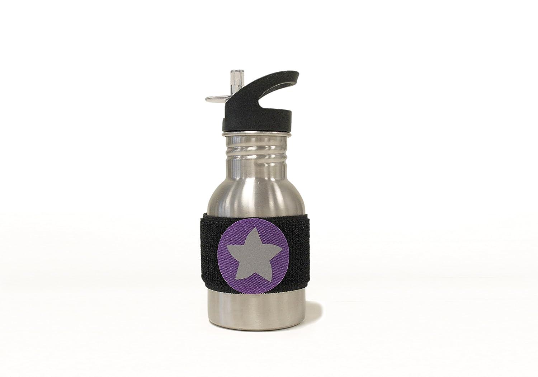 do dottyBOTTLE schadstofffreie Edelstahl Trinkflasche (350ml) mit Klettmotiv Stern zum Individualisieren für Kindergarten und Schule (grau) kjomizo