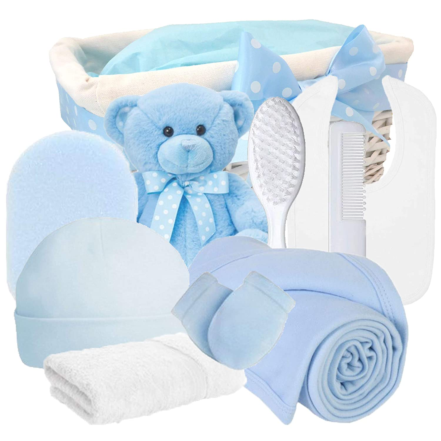 Angel DELUXE Baby Boys Gift Hampers Blue Baby Shower Boy Newborn Hamper Gift for Boys / New Born Baby Boy Gifts Baskets Personalised Sets / Nappy Cake Boy / Unique Mum To Be Maternity Set / FAST DISPATCH Pitter Patter Baby Gifts