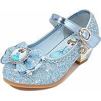 Princesa Zapatos para Niña Tacón Lentejuelas Niña de Altos Regalo Vestir Antideslizante Disfraz Sandalias con Velcro…