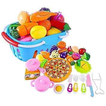 Cocina Y Piezas Alimentos Verduras Aprendizaje De Juguetes 32 Utensilios Juegos Coordinaciónazul Juguete Yvsoo Frutas b6gy7f