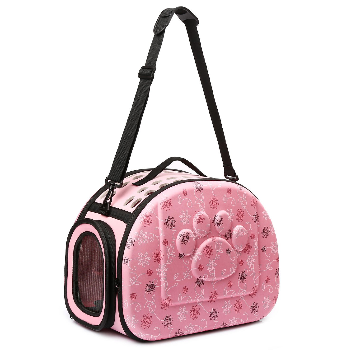 CORALTEA EVA Cute Portable Collapsible for Pets of Medium Size Cats & Dogs Airline Approved Outdoor Under Seat Travel Pet Carrier Soft Sided Puppy Bag (pink)