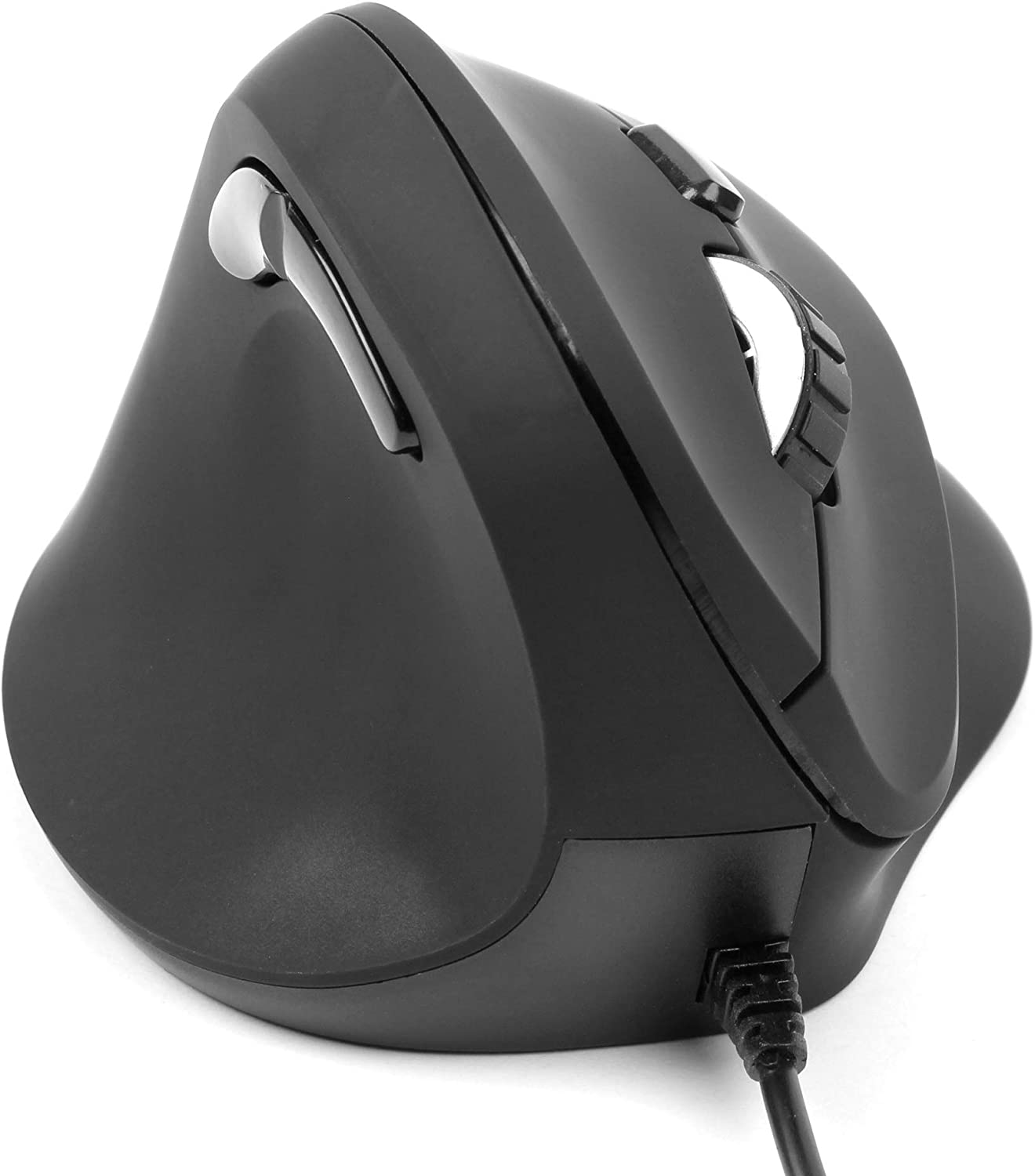 Compatible with HP 14-ac126na DURAGADGET Wired Left-Handed Ergonomic Vertical USB Mouse Black with Browser Buttons