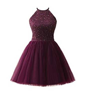 Ubridal Short Beading Keyhole Back Tulle Homecoming Dresses Prom Gowns purple 2