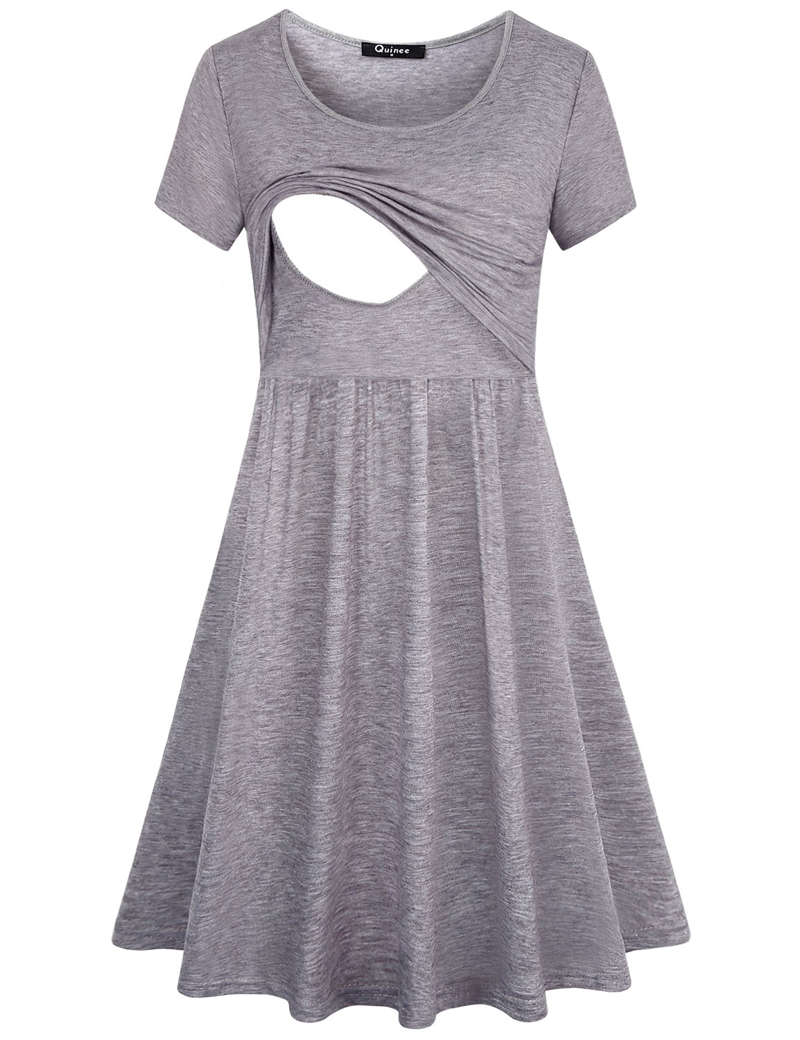 Quinee Nursing Dresses,Womens Summer Short Sleeve Latched Mama Loose Fitting Postpartum Breastfeeding Dress with Double Layers Mid Length A Line Trensy Soft Comfortable Maternity Clothing Grey M