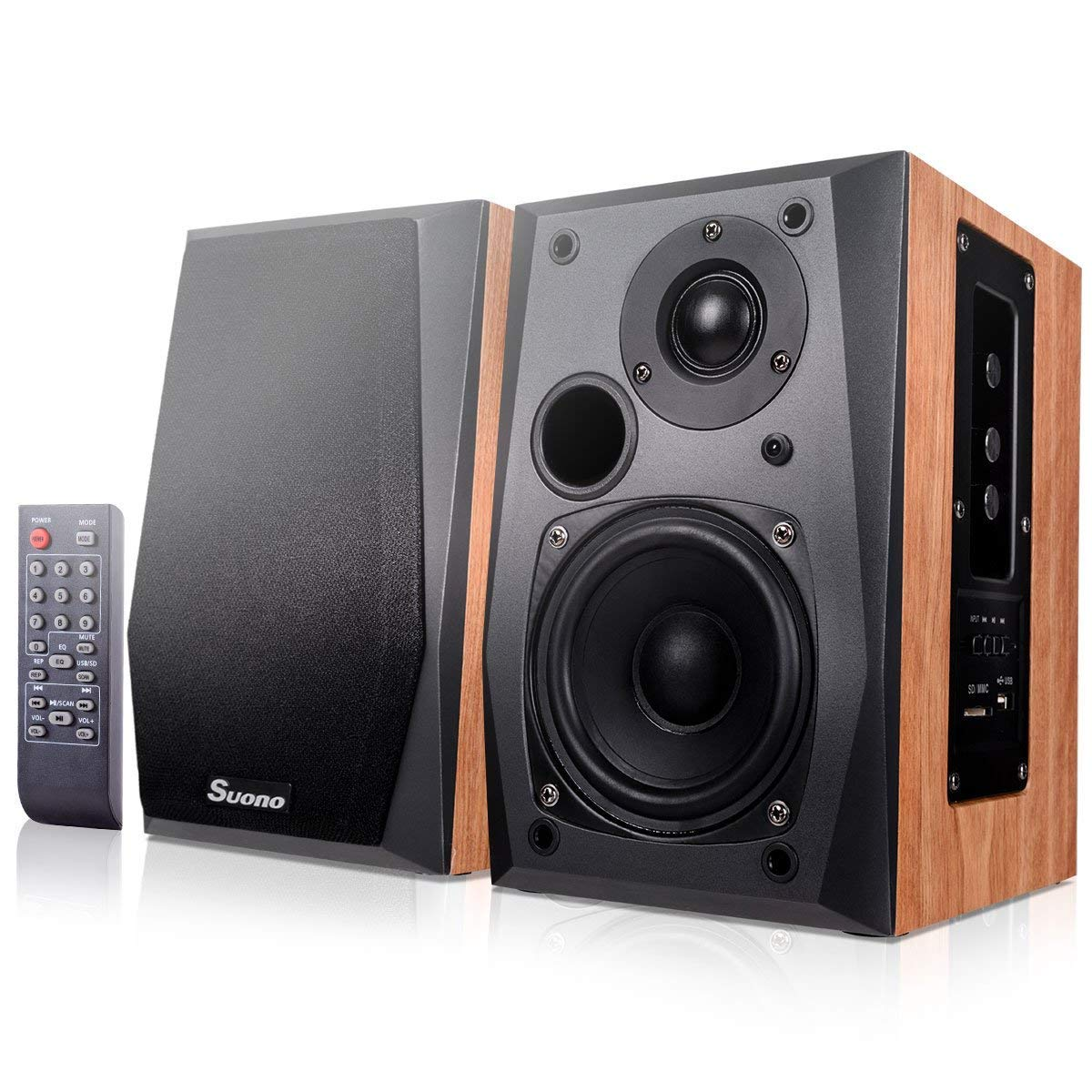 Costzon Powered Bluetooth Bookshelf Speakers, Wall Mount Active Studio Stereo Monitor Speaker with Tweeter, Woofer, USB, SD/MMC Card Slot, Remote Control (Active & Passive Speakers Set)