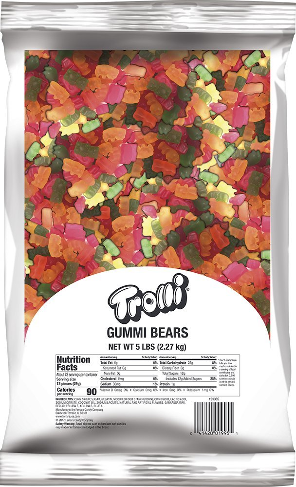 Trolli Gummy Bears Candy, 5 Pound Bulk Gummy Bears