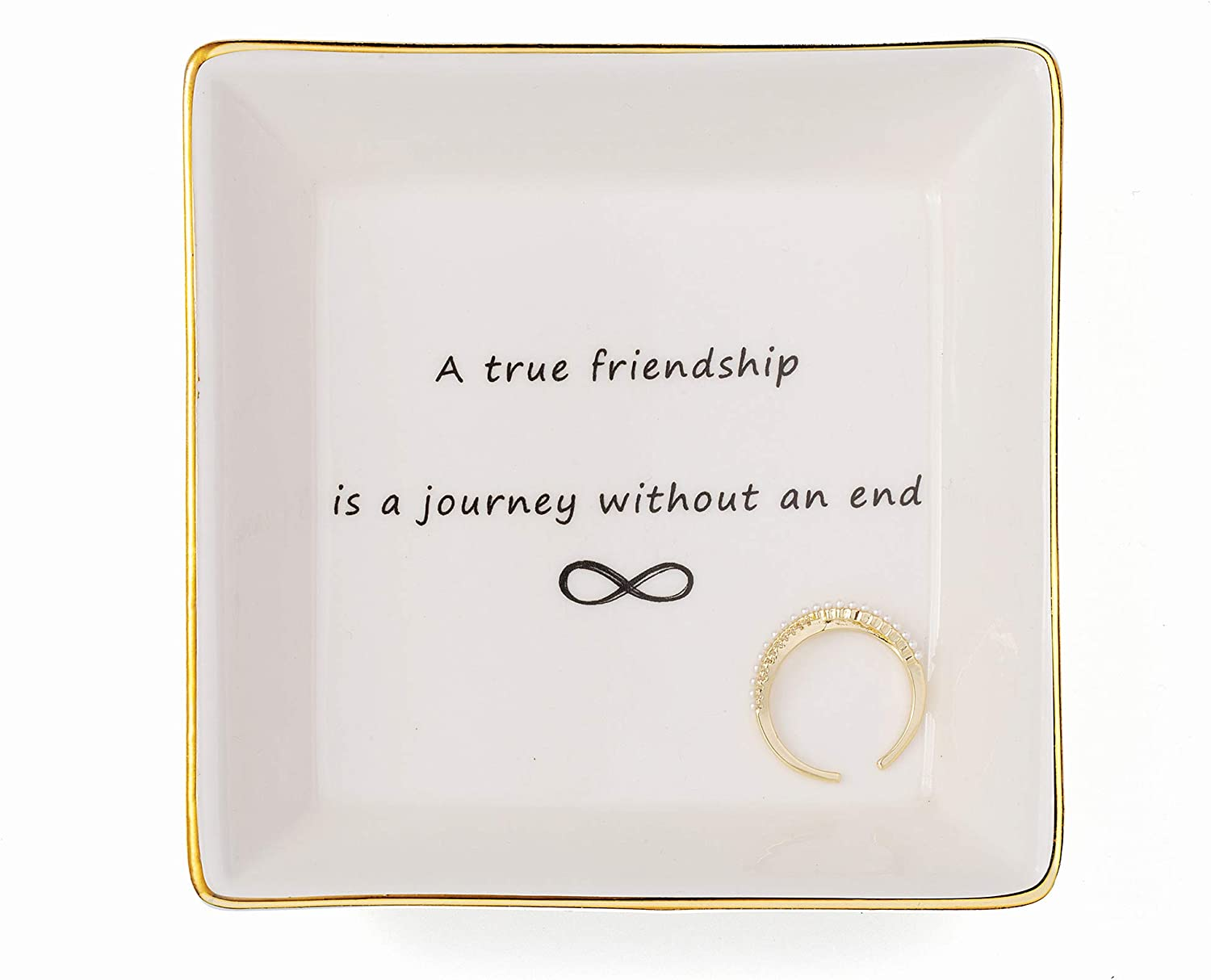 Friend Jewelry Dish Home Decor Trinket Dish- Best Friendship Gifts-Cute Classy Fashion Gifts for Birthday Chrismas Women Men