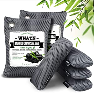 WNATN Bamboo Charcoal Air Purifying Bags,Upgraded 6pack(2×200g+4×60g),Shoe Deodorizer Bags,Activated Charcoal Odor Absorber, Odor Eliminators for Home, Pets, Car, Closet