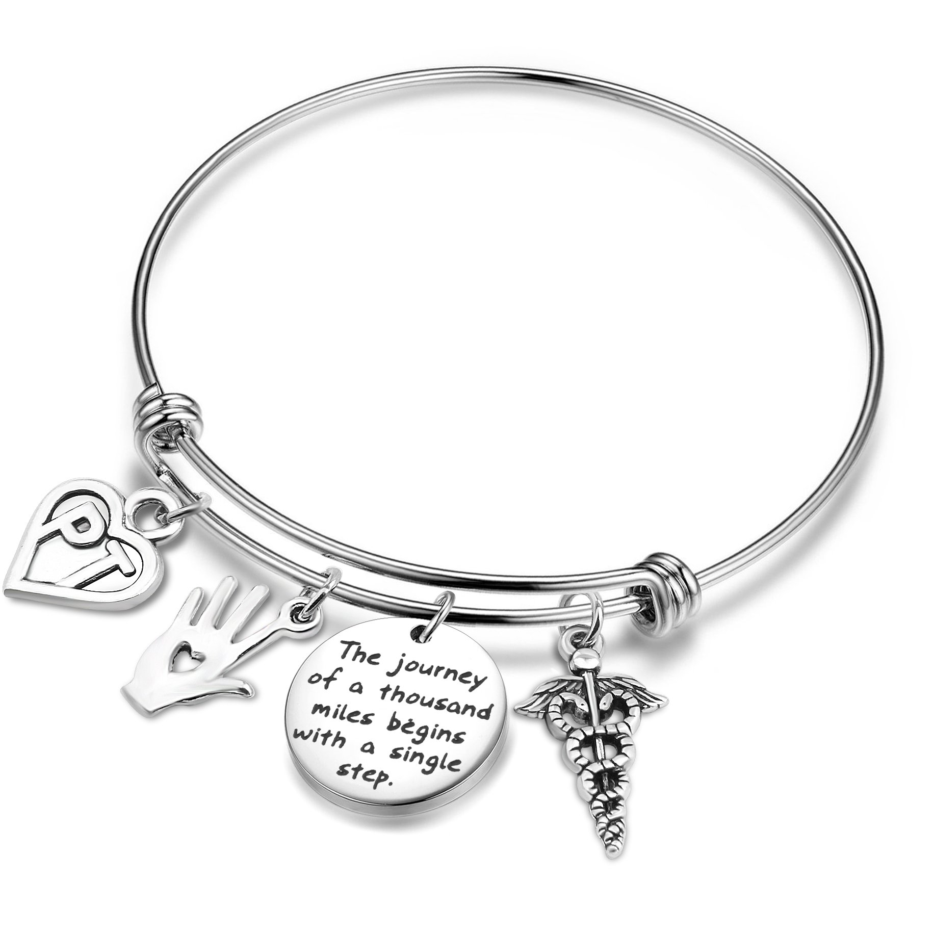 TGBJE Physical Therapy Bangle A Journey of a Thousand Miles Begins with a Single Step Wire Bracelet Graduation Gift for PT Bracelet (PT Bracelet)