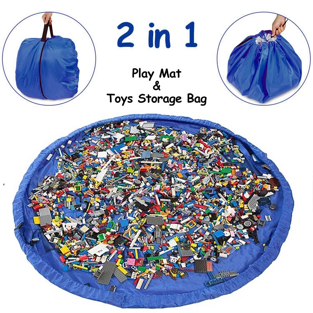 Waterproof Toys Storage Mat Bag and Kids Floor Activity Toys Mat (60-inches) Toys Storage Organizer Bag Picnic/Camping Mat Pad Storing Cleanup Lego Toys in 50 Seconds - Drawstring Turns into a Pouch