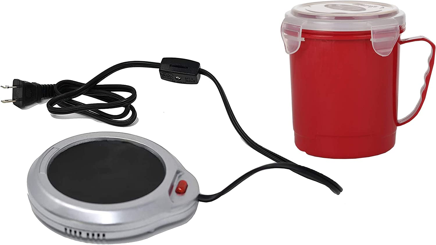 Home-X Mug Warmer, Desktop Heated Coffee & Tea - Candle & Wax Warmer (Silver Finish) and Microwave Soup Mug with Secure Snap Close Vented Lid, 22 Ounce, Red