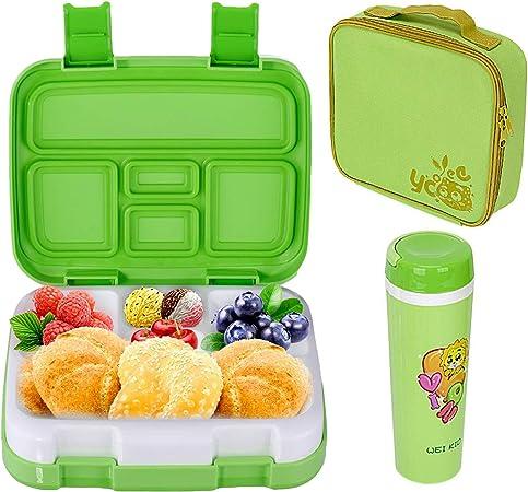Fiambreras Bento, Caja de Almuerzo con 5 Compartimentos Fiambrera Infantil, Bento Box para Niños, Lunchbox Fiambrera Sostenible, Apta para Microondas y Lavavajillas: Amazon.es: Hogar